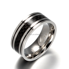 Wholesale Fashion Stainless Steel Ring Wood Inlay Ring For Men And Women