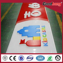 Vacuum Forming White Acrylic Signboard With Stainless Steel Frame