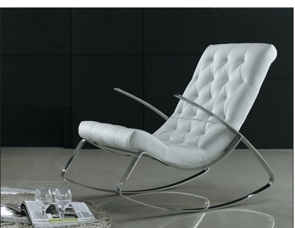 Stainless steel leisure chairs modern leather rocking - Sofas comodos y modernos ...