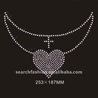 elegant neckline with heart style hot fix rhinestone transfer