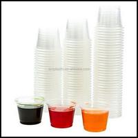 1 oz Jello Shot Plastic Tumbler Cups with Lids Transparent PP Clear mini sauce cup pudding cup disposable wholesale manufacturer