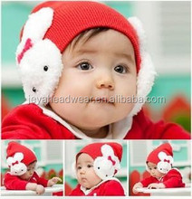 Wholesale Red Baby Knitted Hat Beanie Bonnets With Earflaps For Winter