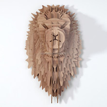 Guangzhou art and crafts DIY gift Wood lion head art mind wood crafts