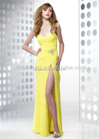 HT366 Sexy Sweetheart neckline strapless long chifon yellow backless sexy high side slit prom dresses