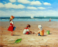 Custom-made Portrait Wall Art Paintings Available Children Playing Oil Painting