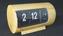 Promotional wood grain auto flip clock novelty flip flap table clock mini cute auto flip calendar clock