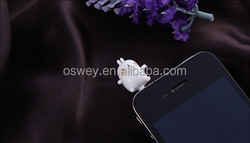 Funny Rabbit Head Anti Dust Earphone Cap Plug for iPhone Android Phone