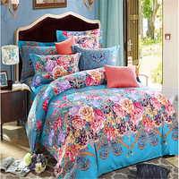 peach skin polyester brushed 3D design continuous printing effect elegant style bedding sets