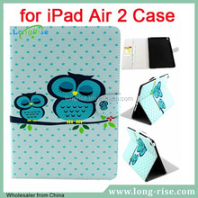 High Quality Cut Owls Magnetic Side Flip Leather Stand Cover for iPad Air 2 Case with Cash Slot
