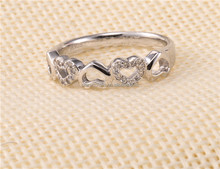 women's wedding silver ring,925 Sterling Silver Infinity Ring,couple heart shape crystal ring