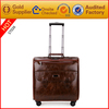 genuine leather/ pu leather travel trolley luggage bag travel bag with trolley