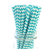 Teal Cheveron In Blue Paper Straws For Party And Wedding