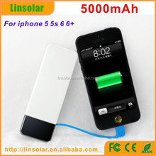 For iphone, Hot 5000mAh Built-in Lighting Cable Portable Power Bank External Battery Charger