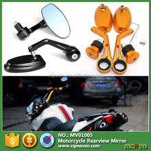CNC Aluminum Reversible Small Motorcycle Handle Bar End Mirror Flexible Oval Rear View Back Mirror