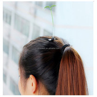 H091 Free shipping Green Leaf shape Hair accessories wholesale Small Grass Hairpin for kids 2015 Little Grass Hair pin for girls