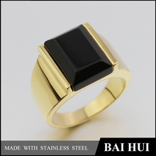 High Pulished 316L Stainless Steel 18K/24K Gold Ring With Black Stone/Men's Engagement Black Diamond Ring