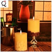 fabricante Shenzhen Aromaterapia Orgánica verdadera cera llevó velas con vacilante llama de la vela /