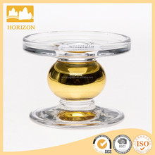 wholesale clear glass tea light /candle holder with golden ball stem
