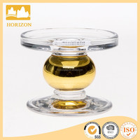 wholesale glasss votive candle holders, hand pressed golden color glass candle holder