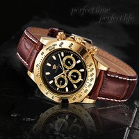 OYW leather band mens watches cheap elegant automatic mechanical watches
