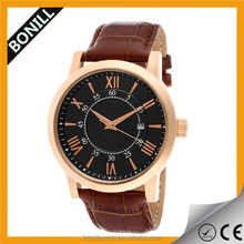 Quality pleating stainless steel leather strap quartz analog wrist watch manufacturer japan movement