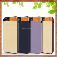 2015 new design leather phone case for iphone 6 with real cherry wood combine padauk wood at the top of the case