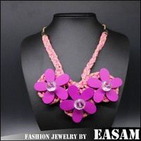 Trendy braided rope fake collar flower shape wooden necklace for women