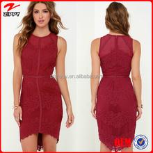 2016 new products lace formal dress sleeveless high-low hem elegant lace short prom dress