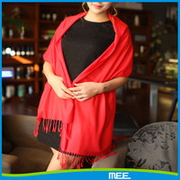 Fashional red women's solid color pashmina shawl wrap