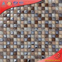 Antique Wall Tiles Crystal Glass Mosaic Tiles mix Liquid Luster and Broken Mosaic and Stone Building Material KS69