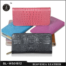 Latest Design Crocodile Skin Pattern Genuine Leather Lady Wallet