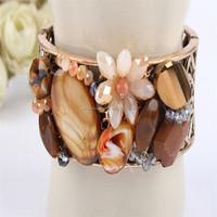 2016 Yiwu Beauty Jewelry Natural Stone Bracelet Charm Bead Bracelet With Flower