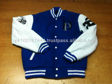 Custom design wool varsity jacket with leather sleeves with brand logo