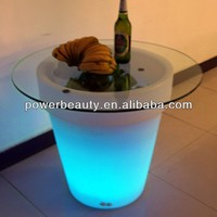led color changing glass coffee table with remote control
