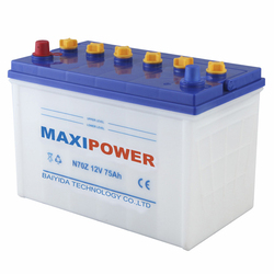 dry charged car battery 12v75ah