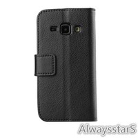 High Quality PU Leather Credit ID Card Holder Foldable Flip Case Cover for Samsung GALAXY J1