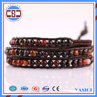 wholesale charming natutal agate leather bracelet 3-layers wrapped bracelet
