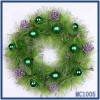 Wholesale christmas wreath decorations high quality top selling green christmas ball silver pine nut lovely christmas wreath