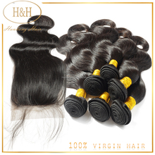 Peruvian Virgin Hair Body Wave Lace Closure With Bundles Unprocessed Human Hair Weave Extension Peruvian Body Wave