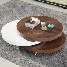 mdf swivel round wood coffee table