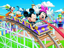 Travel with them in mofang Mickey mouse roller coaster wallpaper 3d