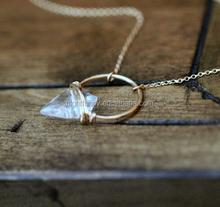 Arrowhead Gemstone Necklace , Crystal Quartz Hoop Stone In Gold , Rose , Sterling , Modern Layering Jewelry