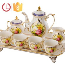 Porcelain elegant 8pcs Coffee tea set design golden and silver for tea