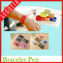 Promotional creative cartoon rubber silicone ballpoint bracelet pen for decorating
