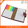 custom logo print on pu cover Combination sticky note pad with PET sticky and pen
