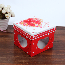Trend square heart i love you organza bow lovely paper gift box packaging box