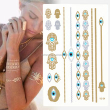 2015 happy new year tattoo gold sale temporary jewelry metal metallic body most trend temporary flower