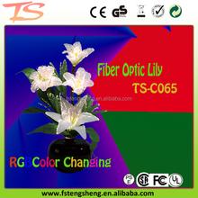 Wedding rainbow color decoration centerpiece LED silk fiber optic Lily flower lights