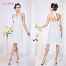 03455WH Halter White Sexy V-neck Open Back Flower Bridesmaid Dress 2012