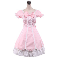 2015 newest Custom Made Trumpet Long Sleeve Knee-length Square Collar Pink Cotton Sweet Lolita Dress With Ruffles And Bow